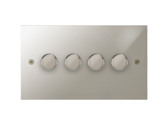 Focus SB True Edge 4 Gang 2 Way Push On/Off Dimmer Switch Polished Nickel