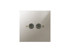 Focus SB True Edge TV Co-Axial 2 Gang Socket Polished Nickel