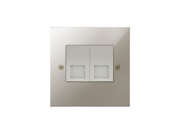 Focus SB True Edge Telephone Master 2 Gang Socket Polished Nickel White Insert