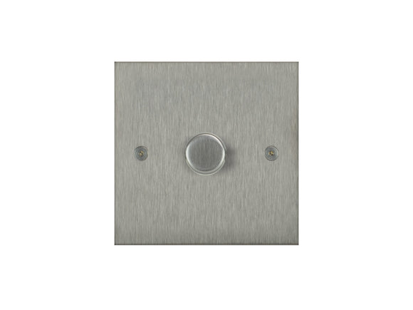 Focus SB True Edge 1 Gang 2 Way Push On/Off Dimmer Switch Satin Steel