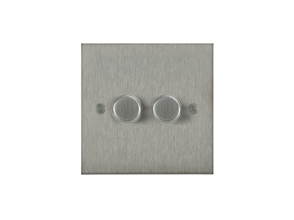 Focus SB True Edge 2 Gang 2 Way Push On/Off Dimmer Switch Satin Steel