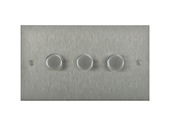 Focus SB True Edge 3 Gang 2 Way Push On/Off Dimmer Switch Satin Steel