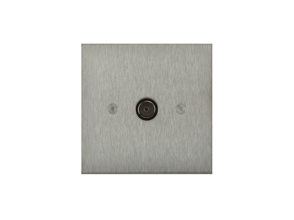 Focus SB True Edge TV Co-Axial 1 Gang Socket Satin Steel