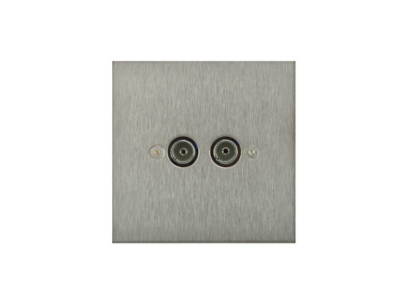 Focus SB True Edge TV Co-Axial 2 Gang Socket Satin Steel