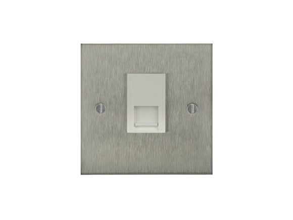 Focus SB True Edge Telephone Master 1 Gang Socket Satin Steel White Insert