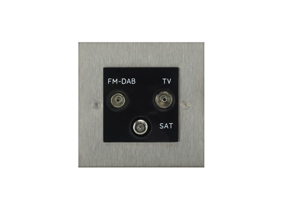 Focus SB True Edge TV/FM/Satellite Triplex Socket Satin Steel Black Insert