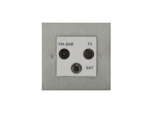 Focus SB True Edge TV/FM/Satellite Triplex Socket Satin Steel White Insert