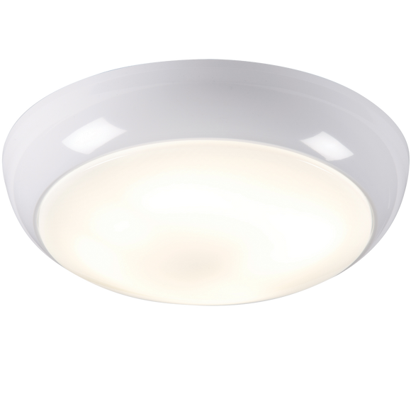Knightsbridge IP44 28W POLO OPAL DIFFUSER & WHITE BASE - HF c/w SENSOR - EMERGENCY