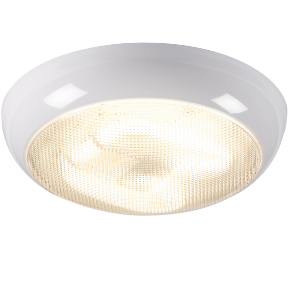 Knightsbridge IP44 38W POLO PRISMATIC DIFFUSER & WHITE BASE - HF