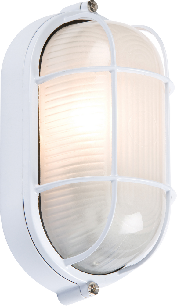 Knightsbridge IP54 OVAL BULKHEAD - WHITE  c/w WIRE GUARD & GLASS DIFFUSER