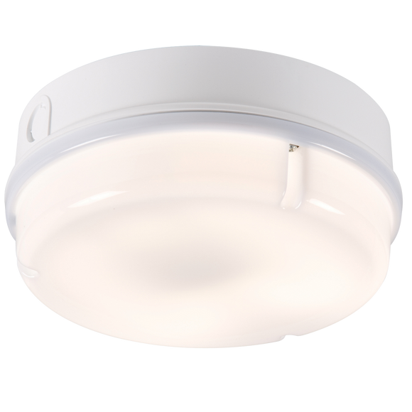 Knightsbridge IP65 28W ROUND BULKHEAD c/w OPAL DIFF, WHITE BASE -EMERGENCY - HF