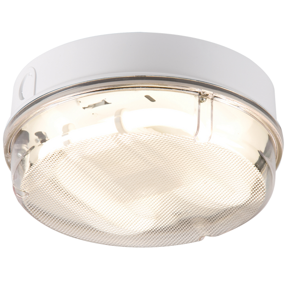 Knightsbridge IP65 28W ROUND BULKHEAD c/w PRIS DIFF, WHITE BASE -EMERGENCY - HF