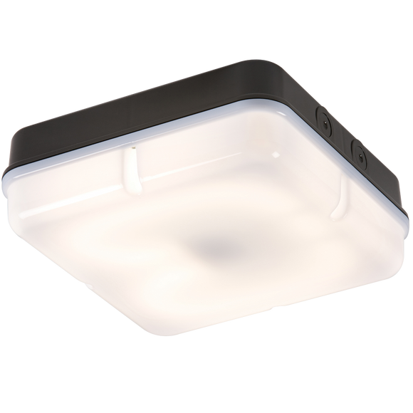 Knightsbridge IP65 28W SQR BULKHEAD c/w OPAL DIFF & BLACK BASE - HF EMERGENCY