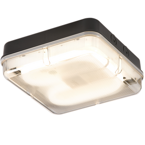 Knightsbridge IP65 28W HF Square Emergency Bulkhead with Prismatic Diffuser and Black Base