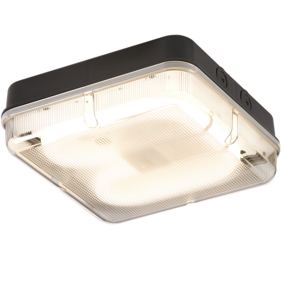 Knightsbridge IP65 28W SQUARE BULKHEAD c/w PRISMATIC DIFFUSER & BLACK BASE - HF