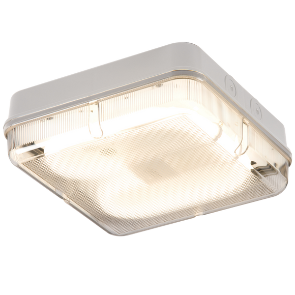 Knightsbridge IP65 28W SQR BULKHEAD c/w PRIS DIFF & WHITE BASE - HF EMERGENCY