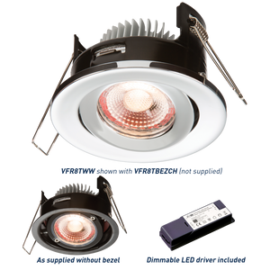 Knightsbridge PROKNIGHT LED IP20 8W Tilt Fire-Rated Downlight 2700K