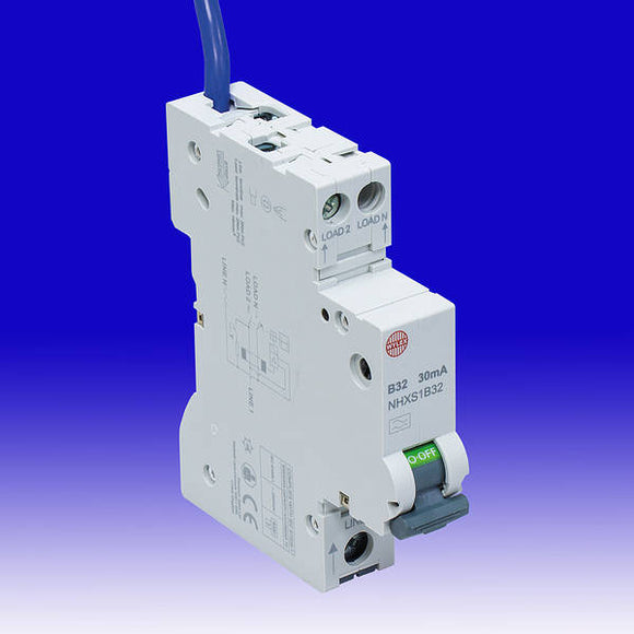 Wylex 32A 30mA RCBO SP + N single module B Curve