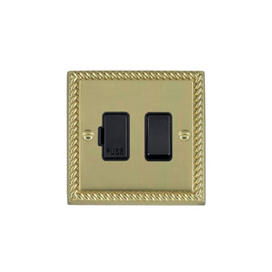 Cheriton Georgian Polished Brass 1g 13A DP Fused Spur BL/BL