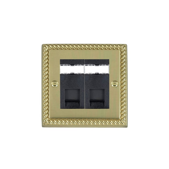 Cheriton Georgian Polished Brass 2g RJ12 Outlet-Unshield BL