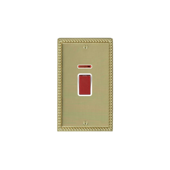 Cheriton Georgian Polished Brass 45A DP+N VERTICAL Red Rkr/WH