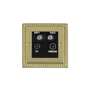 Cheriton Georgian Polished Brass Non-Isolated TV+FM+2XSAT BL