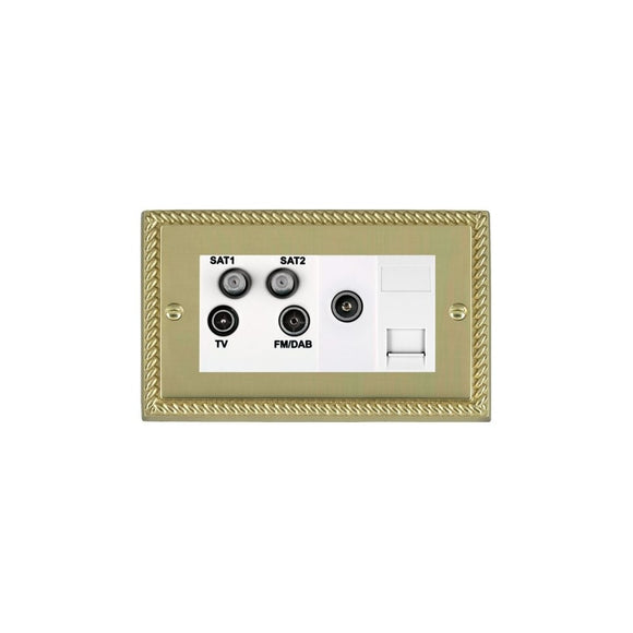 Cheriton Georgian Polished Brass TV+FM+2XSAT+TVF+TCS WH