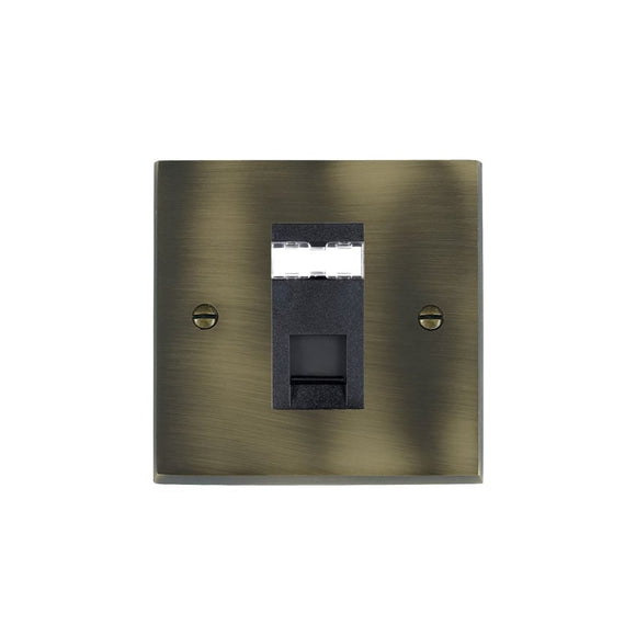 Cheriton Victorian Antique Brass 1g RJ12 Outlet-Unshield BL