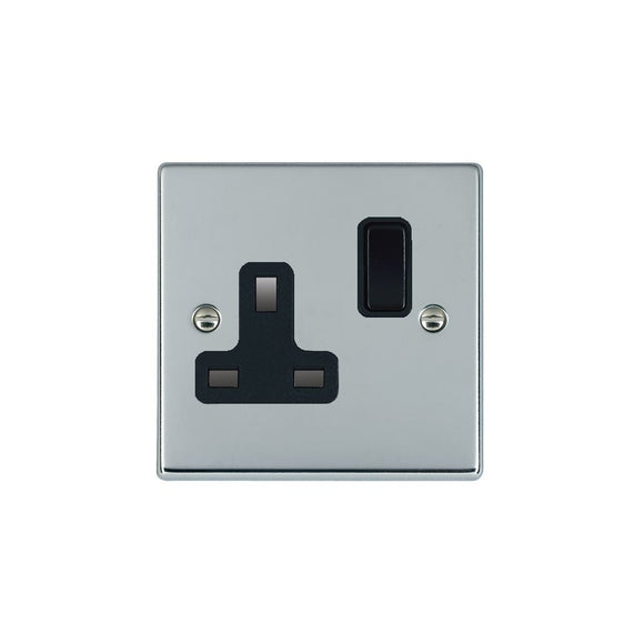 Hartland Bright Chrome 1g 13A DP Switched Socket BL/BL