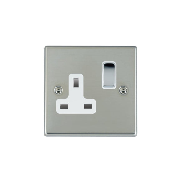 Hartland Bright Stainless Chrome 1g 13A DP Switched Socket BC/WH