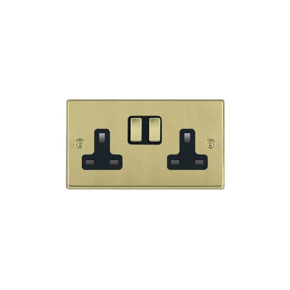 Hartland Polished Brass 2g 13A DP Switched Socket PB/BL