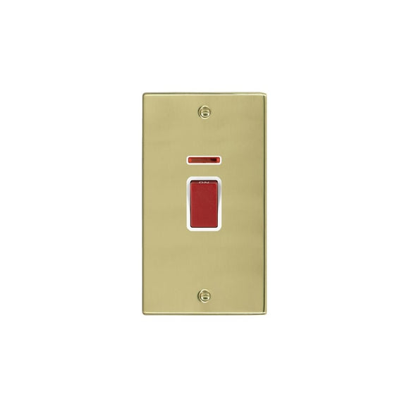 Hartland Polished Brass 45A DP + Neon VERTICAL Red Rocker/WH