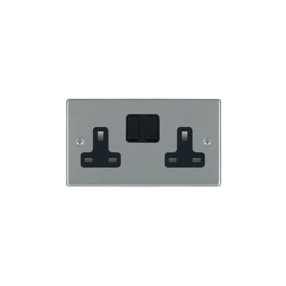 Hartland Satin Stainless 2g 13A DP Switched Socket BL/BL