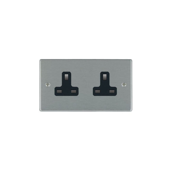 Hartland Satin Stainless 2g 13A Unswitched Socket BL