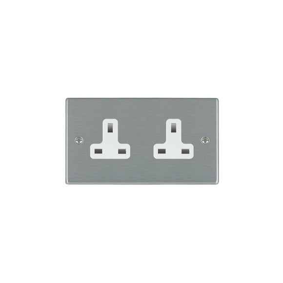Hartland Satin Stainless 2g 13A Unswitched Socket WH