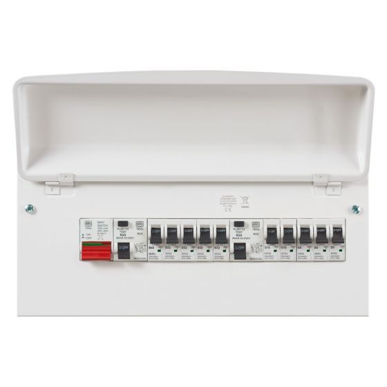 MK Sentry K7666SMET Consumer Unit 10 Way 2x 63A RCD 1x 100A Switch 10 MCBs
