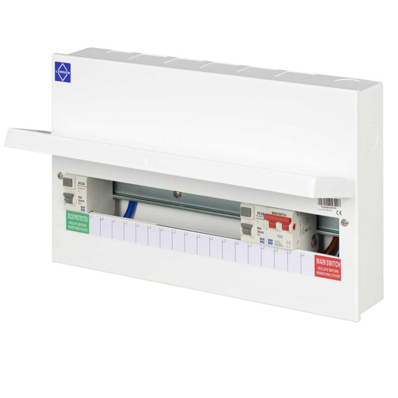 Lewden 15 Way Flexible High Integrity Dual 80A Type A RCD Metal Clad Consumer Unit