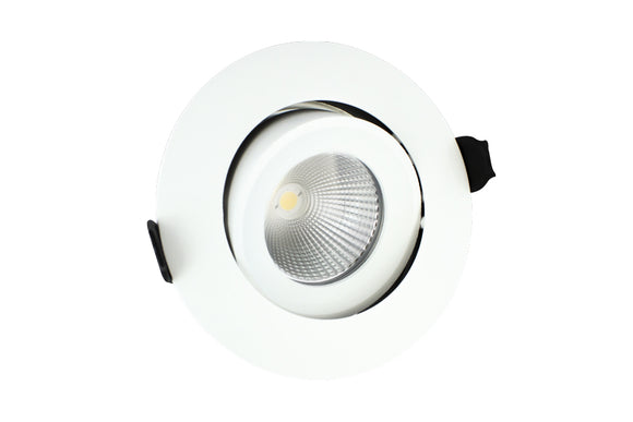 Lux Fire 92mm cut-out IP65 Fire Rated Tiltable Downlight 6W (40W) 3000K 430lm 36° Beam Angle Dimmable