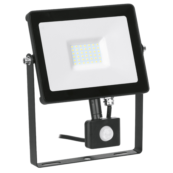Enlite Quazar 30W Adjustable IP65 Driverless LED Floodlight with PIR Sensor 4000K Black - EN-FLH30PW/40
