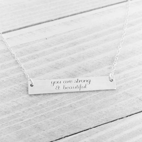 Image of You are Strong and Beautiful Inspirational Necklace