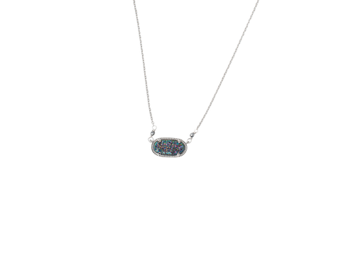 Image of Alicia Oval Druzy Necklace in Silver