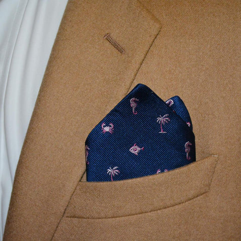 Multi Creature Pocket Square - Navy, Woven Silk