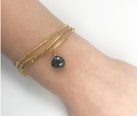 Black Spinel Drop Ball Chain Bracelet