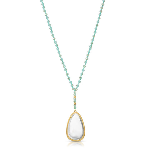 Image of Charlotte Gold Aqua Crystal - Magnifier Pendant Necklace