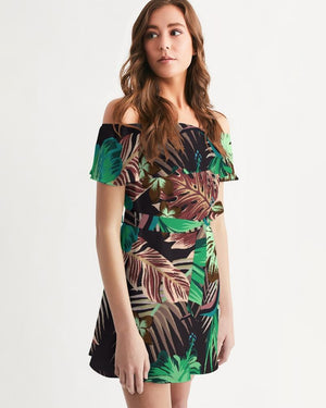 Women's Green Floral Off-Shoulder Dress