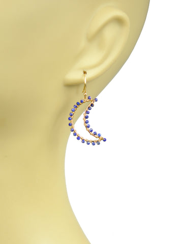 Lapis Lazuli Crescent Moon Earrings