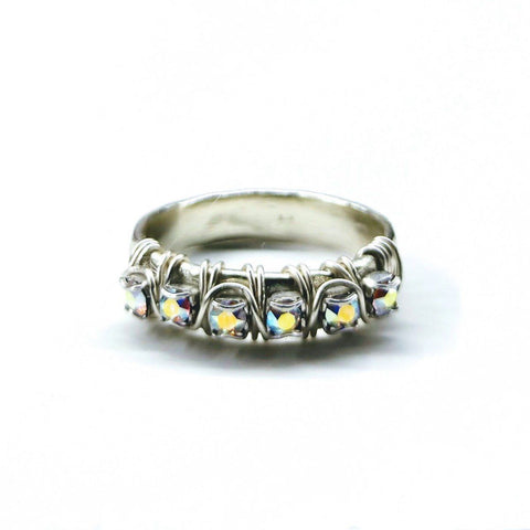 Sterling Silver Hammered Crystal AB Rhinestone Bling Ring