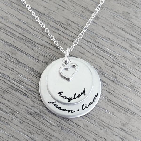 Image of Personalized Necklace with Two Disc & Heart Charm