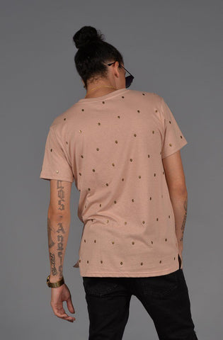 Image of Skull Studded Short Sleeve T-Shirt (Dirty Pink)