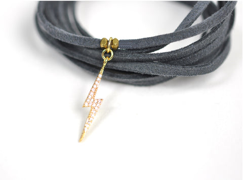 Image of Lightning Bolt Grey Suede Wrap Bracelet